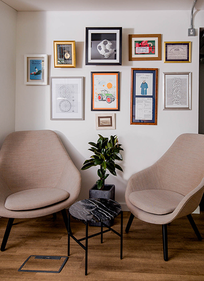 interiors with chairs and coffee table